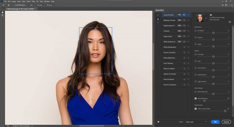 Use of Neural Filter tool in photoshop