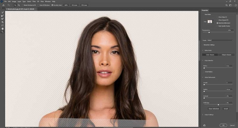 Use of select and mask tool in photoshop