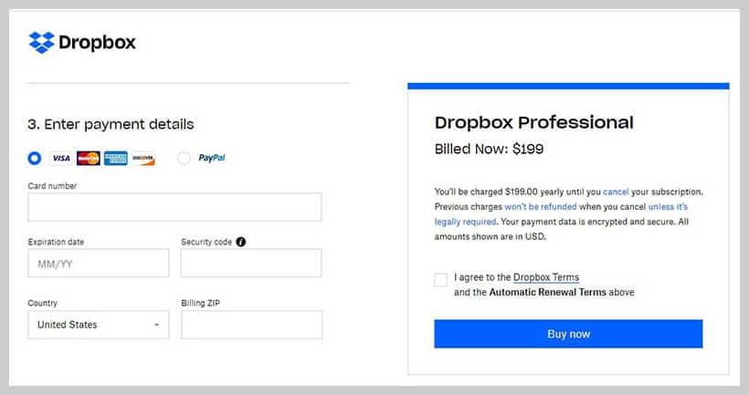 Dropbox - Payment Method