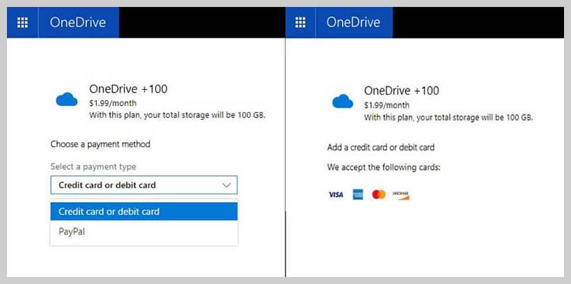 OneDrive - Payment Method