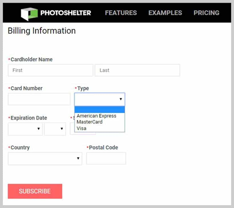 Photoshelter - Payment Method