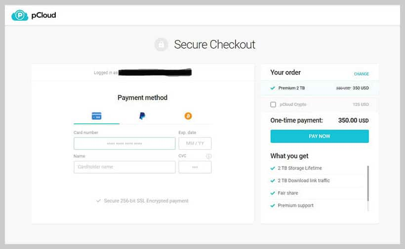 pCloud - Payment Method
