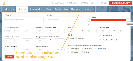 Influencer.Co to find the right influencers