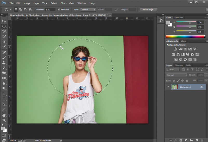 Step 2 Make a Selection- how to feather in photoshop