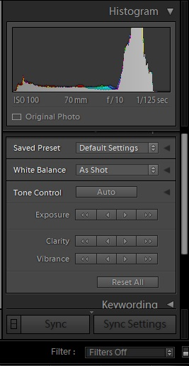 The histogram in Lightroom interface