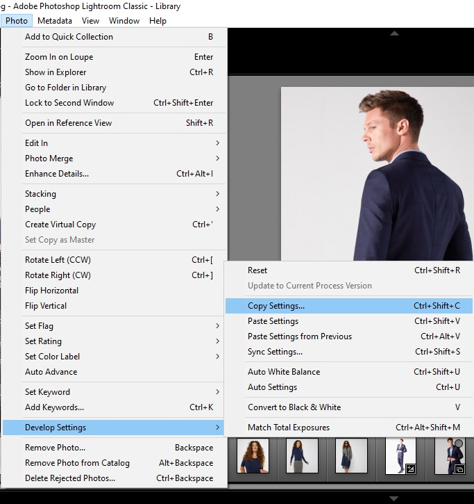 Copy Edit Settings in Lightroom to apply it on other image